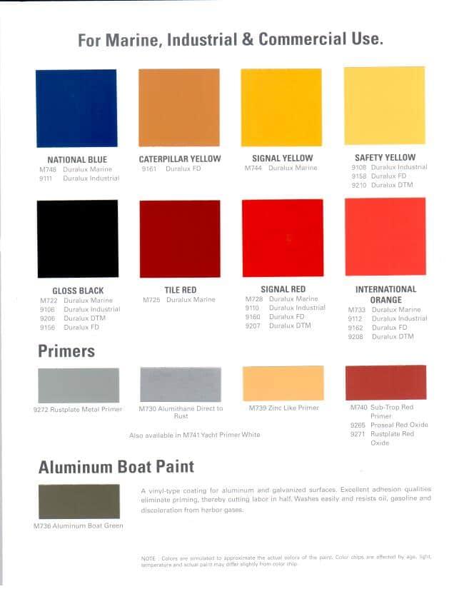 International Paint Colour Chart Boat - Paint Color Ideas